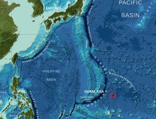 박요섭 한국해양과학기술원(KIOST) 책임연구원 연구팀은 지난해 2월 서태평양 탐사 중 괌 동측의 공해역 해저 6000m 깊이에서 거대한 원추형 수중화산을 발견하고, 이를 '키오스트 해산'이라고 명명했다. - 해양과기원 제공